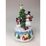 Μουσική κουρδιστή βάση με δέντρο και χιονάνθρωπο