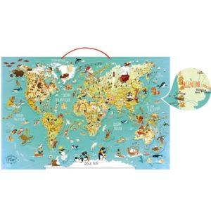 ξύλινος παγκόσμιος μαγνητικός χάρτης Vilac