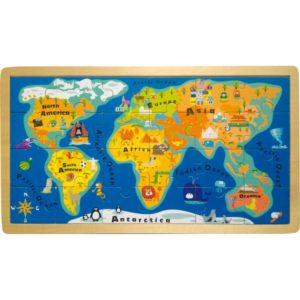 Ξύλινο παζλ παγκόσμιος χάρτης