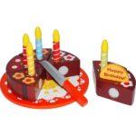 Ξύλινη τούρτα γενεθλίων με κεράκια