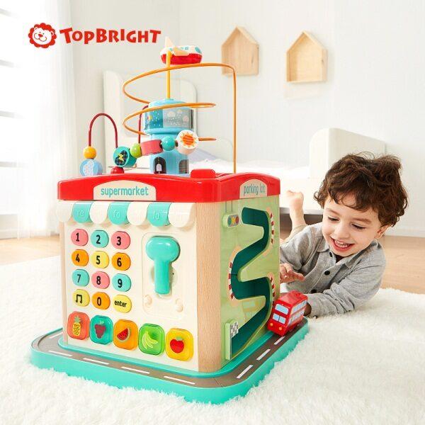 Top Bright μεγάλος ξύλινος κύβος με παιχνίδια