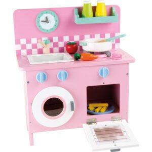 ροζ ξύλινη κουζίνα