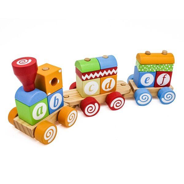 Ξύλινο τρένο με πείρους Eva Toys