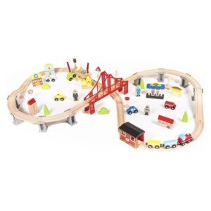 ξύλινο τρένο με γραμμές Eva Toys