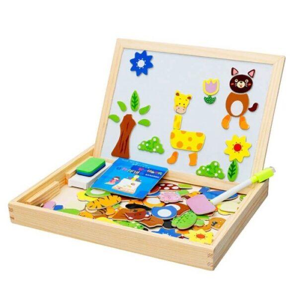 Μαγνητικός ξύλινος πίνακας με κομμάτια Eva Toys